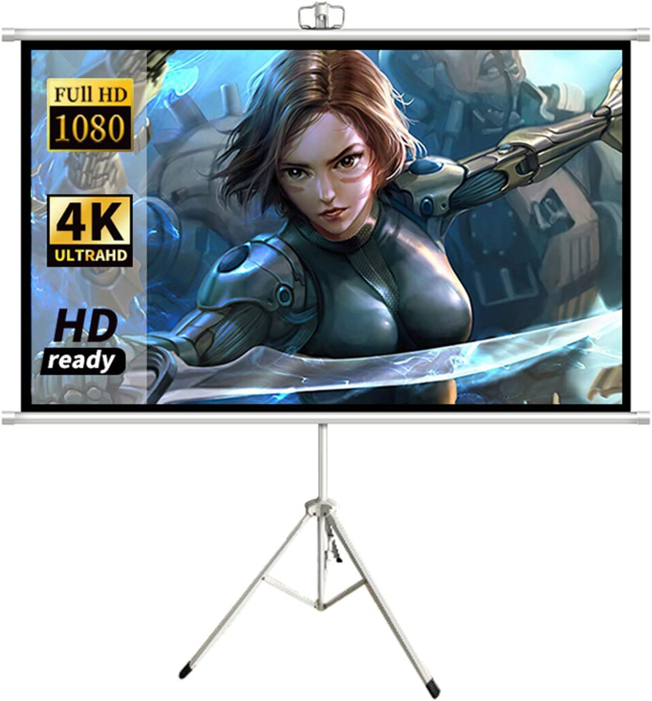 ALDS The Projection Screen with Tripod can Also be Wall-Mounted, Projector Screen 60 inch 16:9 Portable Thickened Movie Screens for Indoor and Outdoor