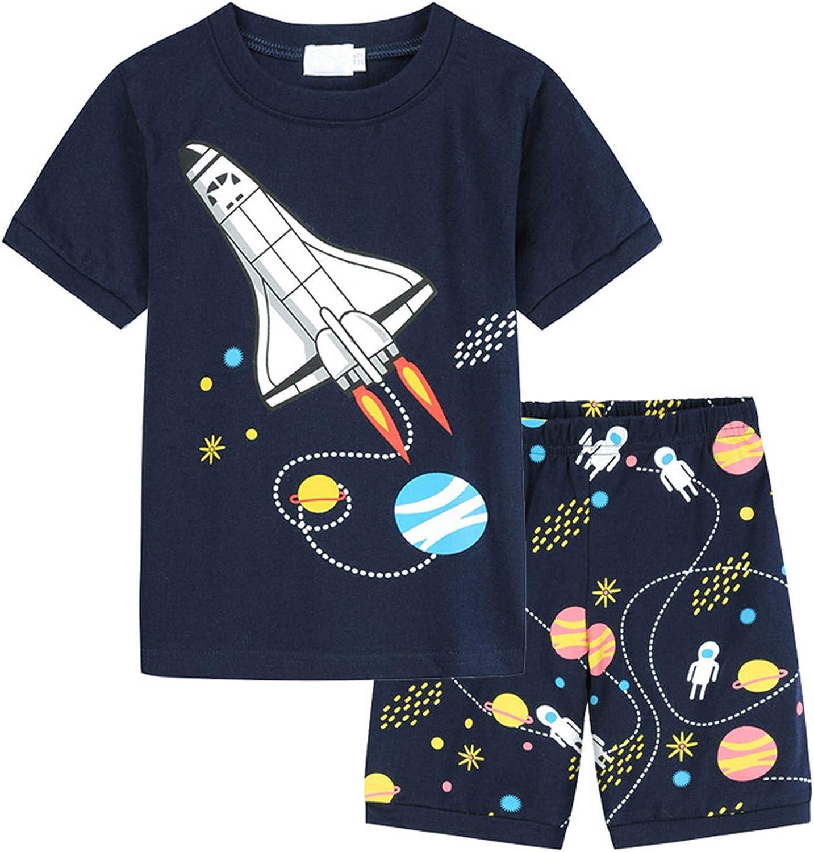 PEGONE summer cute children boys and girls short sleeve fun cartoon printed T-shirt + shorts 2-piece set