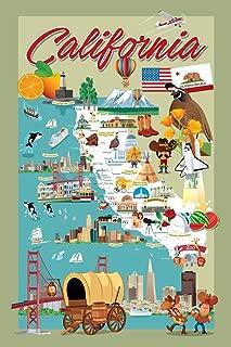 California Retro Cartoon Style Map Laminated Dry Erase Sign Poster 12x18