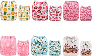 ALVABABY New Printed Design Reuseable Washable Pocket Cloth Diaper 6 Nappies + 12 Inserts 6DM41