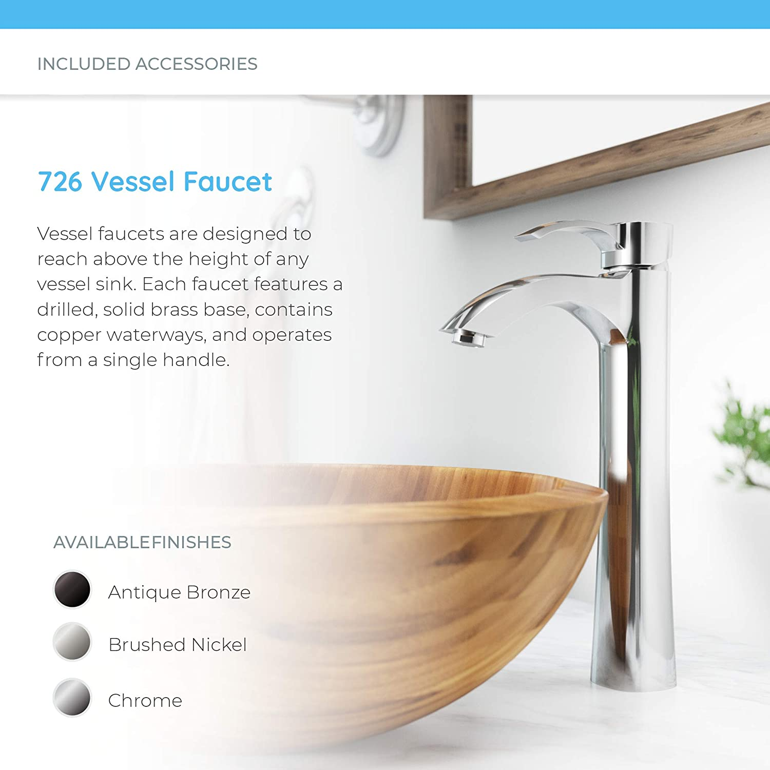 Bundle - 4 Items: Sink, Faucet, Pop Up Drain, and Sink Ring MR Direct 890 Bamboo Vessel Sink Antique Bronze Bathroom Ensemble with 718 Vessel Faucet
