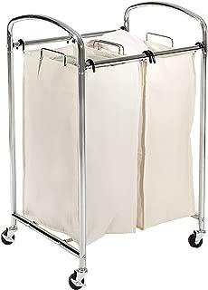 Seville Classics Mobile 2-Bag Compact Laundry Hamper Sorter Cart, Chrome