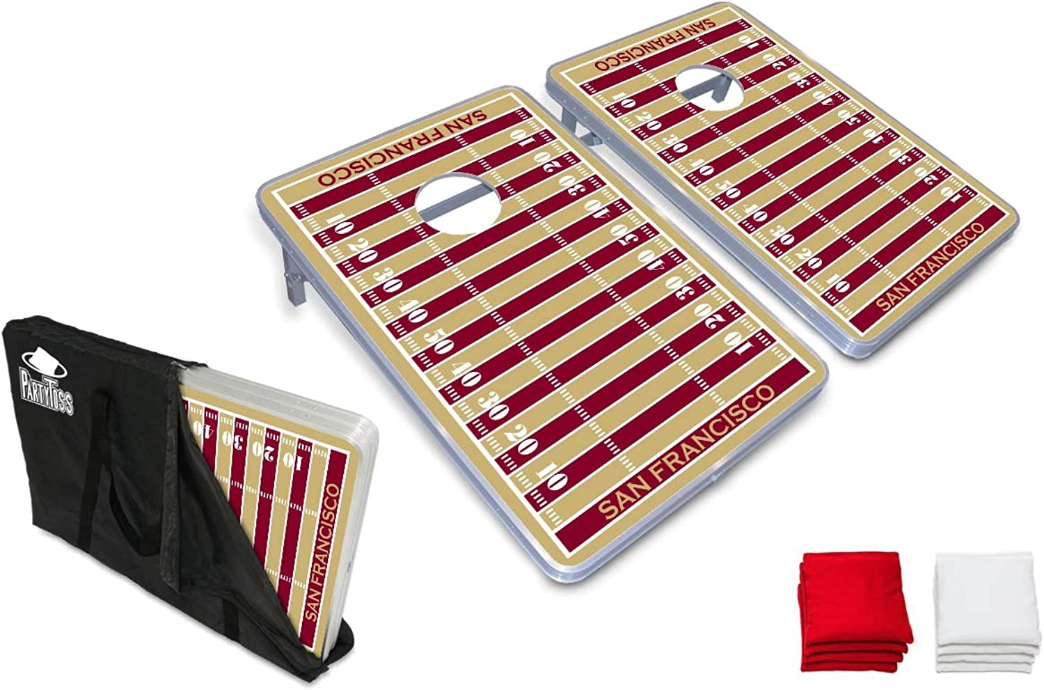 PartyPongTables  Party Toss San Francisco Football Field Cornhole Boards & Bags Game Set  San Francisco Football Field