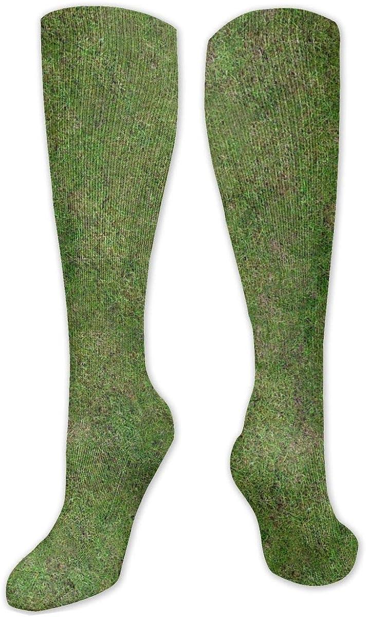Green Grass Texture Knee High Socks Leg Warmer Dresses Long Boot Stockings For Womens Cosplay Daily Wear