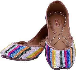 JOPELLE Rainbow Style Handcrafted Leather Punjabi Juttis Mojari for Women