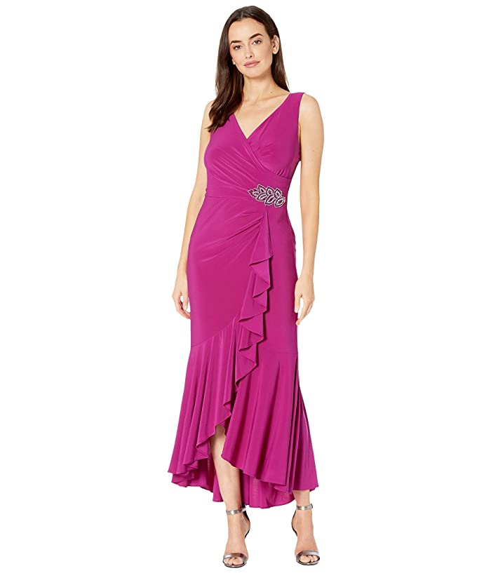 1930s Evening Dresses | Old Hollywood Dress Alex Evenings Long Dress with Ruffle High-Low Wrap Skirt Fuchsia Womens Dress $80.55 AT vintagedancer.com