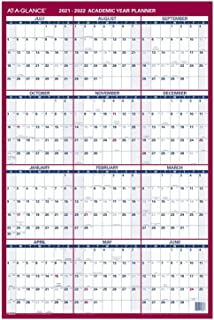 "$22 » 2021-2022 Erasable Calendar, Dry Erase Wall Planner by AT-A-GLANCE, 24"" x 36"", Large, Academic & Regular Year, Double Side..."