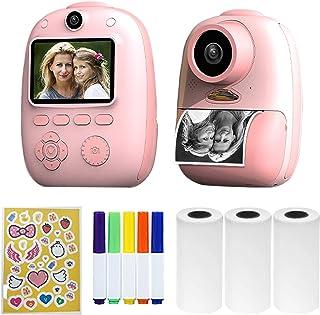 Morelian D10 Instant Camera Photo Printer 1080P HD Mini Digital Camera for Kids with LED Fill-in Light Print Paper Cartoon...