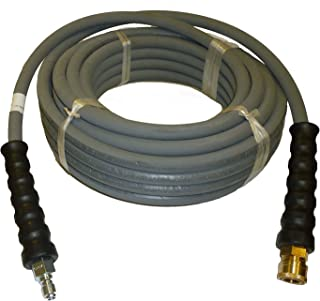 """PROPULSE, A Schieffer Co. 4000 PSI Grey 3/8"""" x 50 FT 1 Layers of High Tensile Wire Braided Rubber Wrapped Pressure Washer Hose with Couplers"""
