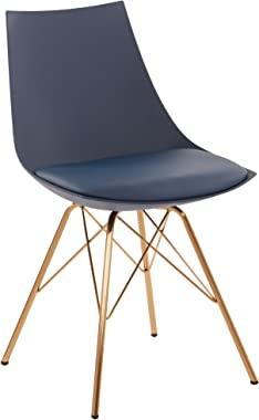 OSP Home Furnishings Oakley Mid-Century Modern Bucket Chair, Navy