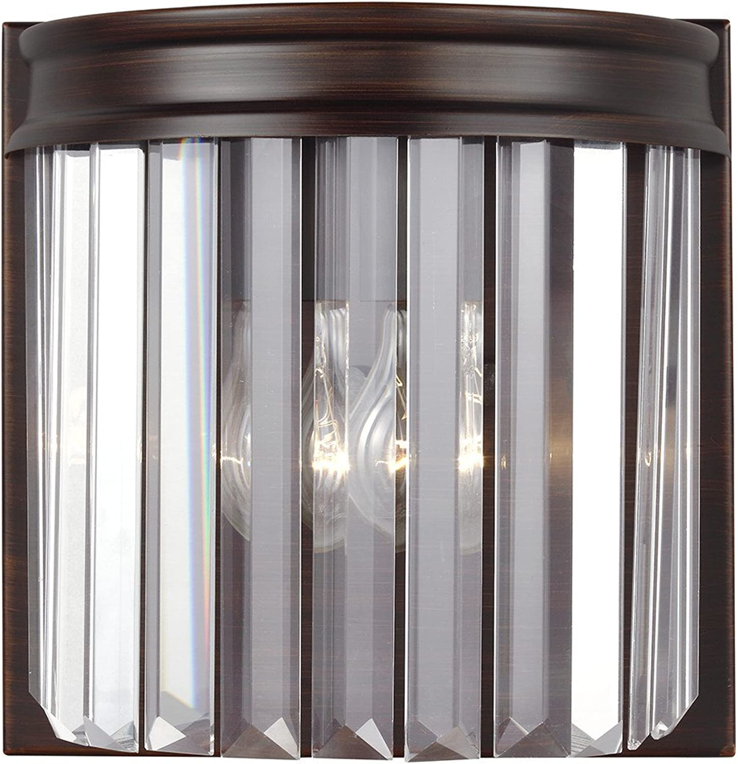 Sea Gull Lighting 4414001-710 Carondelet One-Light Bath or Wall Sconce with Clear Beveled Glass Panels, Burnt Sienna Finish