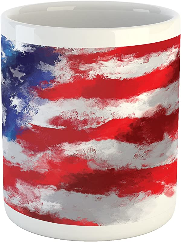 Lunarable American Flag Mug Oil Painting Murky Brush Stroke Watercolor Banner Citizen Anthem Picture Print Ceramic Coffee Mug Cup For Water Tea Drinks 11 Oz Blue Red