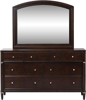 Liberty Furniture Industries Essex Dresser & Mirror, Dark Truffle Finish