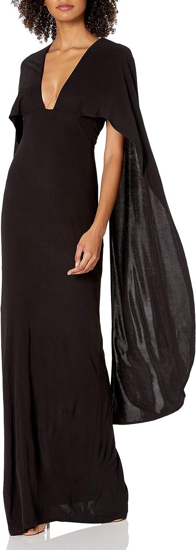 ABS Allen Schwartz Women's Cape Gown with Deep-V Front in Matte Jersey