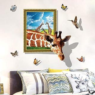 UUTAG 3D Vinyl Wall Stickers, Giraffe Wall Decals Window View Wall Decal Removable Wall Stickers Home Art Decor Mural Wall...
