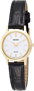 SEIKO Women's Solar Powered Watch, Analog Display and Leather Strap SUP300P1
