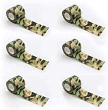 BOROLA 6Pcs Self-Adhesive Protective Camouflage Tape Cling Scope Wrap Military Camo Stretch Bandage for Gun Rifle Shotgun Camping Hunting 6 Pcs Wetlands Camo