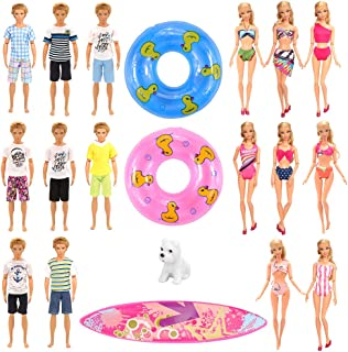 Barwa Lot 11 Pcs Handmade Clothes and Accessories Set for 11.5 Inch Girl And Boy Dolls| 3 Random Swim Trunks for Boy Dolls...