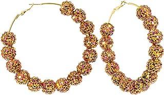 3 Inch Golden Aurora Pink Sparkle Ball Hoop Earrings