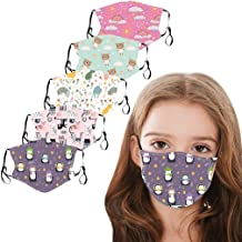 5PCS Kids Face Mask, Reusable Washable Cute Cotton Face Mask for Kids