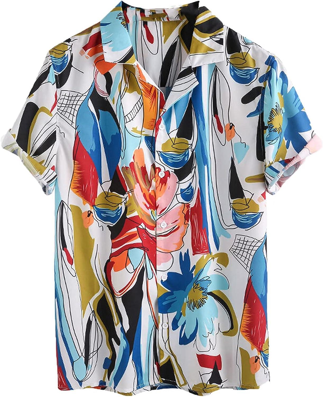 Aloha Shirt for Men Button Casual Summer Relaxed-fit Short Sleeve Holiday Beach Blouse Printed Hawaiian Shirt