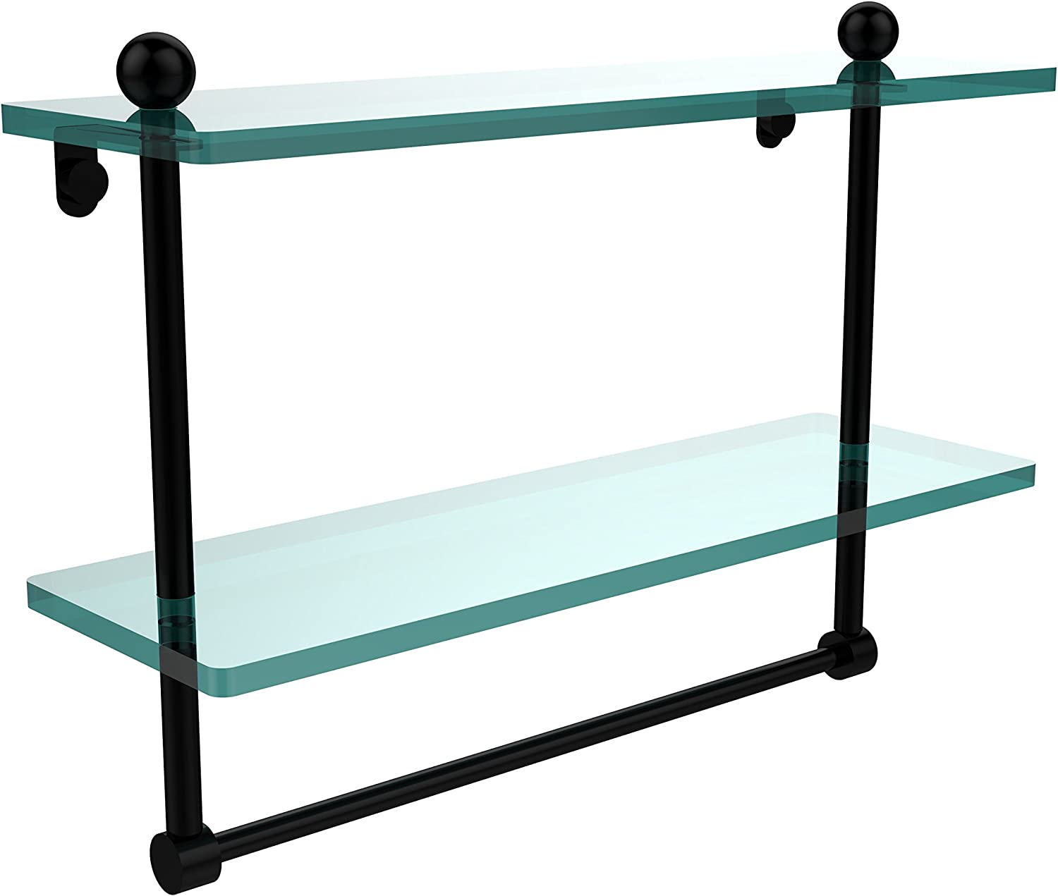 Allied Brass PR-2 16TB-BKM 16-Inch by 5-Inch Double Glass Shelf