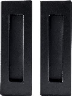 Flush Pull Handle 2 Pack, Black Stainless Steel, Concealed Screws - Barn Door Handles for Sliding Closet, Cabinet or Pocket Doors