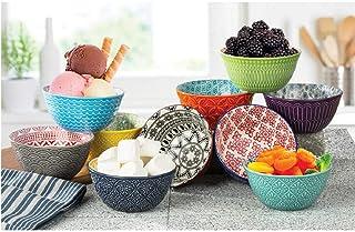 Signature Housewares Dessert Bowls - Set of 10 Stoneware Bowls for Rice, Snacks, Side Dishes, Ice Cream, Fruit Dishwasher ...