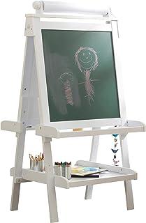 KidKraft 62040 Chevalet d'artiste enfant en bois Deluxe avec rouleau de papier, incluant 2 pots à peinture refermables - c...