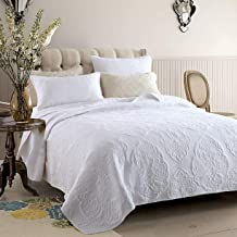 White Bedspread with 2 Pillow Shams Quilted Quilt Throw Bed Cover Washable Embroidered Coverlet, White, 230 * 250cm
