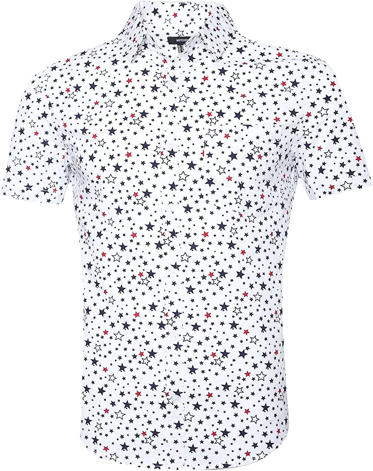 TOPORUS Super sale Challenge the lowest price of Japan Men's Casual Short Sleeve Pattern S Down Printing Button