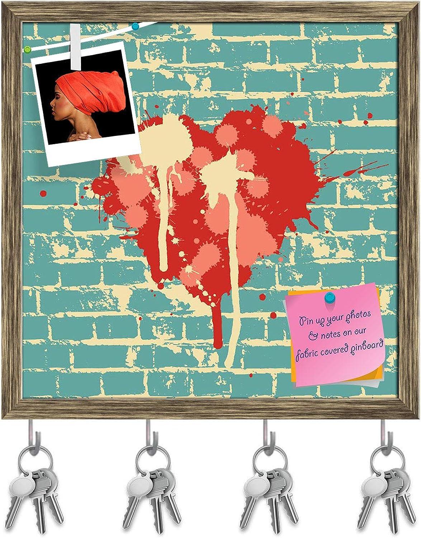 Artzfolio Heart Symbol On Brick Wall Key Holder Hooks   Notice Pin Board   Antique golden Frame 20 X 20Inch