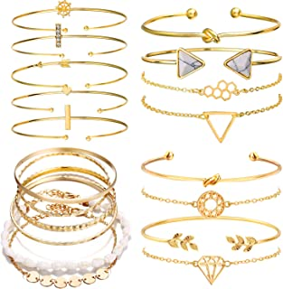 19pcs Multiple Layered Stackable Open Cuff Wrap Bangle Gold Bracelets for Women Jewelry Adjustable for Girls Set