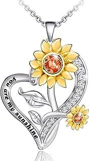 گردنبند آفتابگردان از راه دور برای زنان S925 طلا و جواهر گردنبند نقره ای ، شما گردنبندهای آویز آفتاب من با جعبه کادو برای دختران دختر خانم های مادر همسر هستید