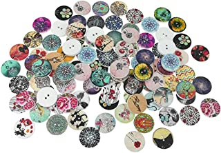 Kinteshun Wooden Buttons Round Natural Wood 2-Holed Fastener Buttons for Sewing Knitting Handcraft(100pcs,White,Assorted Patterns)