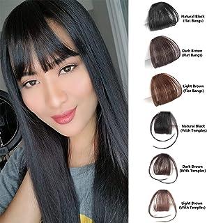 Shinon Natural Real Human Hair Flat Bangs Fringe Hand Tied MiNi Hair Bangs  Fashion Clip ec22a3da05c