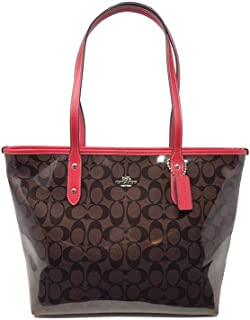 Coach F38555 SVA8T WoMens Patent Coated Canvas Signature City Tote Bag Sv/Brown/Red