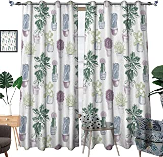 hobeauty home Custom Design Curtains,Plants Succulents Indigenous Foliage in Flowerpots Domestic Flora Art,Multicolor,Blackout Curtains for Bedroom W108xL108 Inch