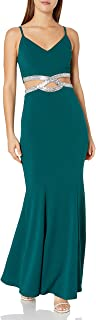 Women's Full-Length Party Dress with Peek-a-Boo Jeweled...