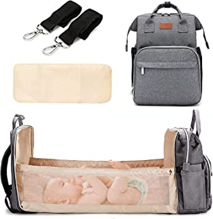 Diaper Bag with Changing Station, Travel Foldable Baby Bed, Baby Bag Backpack, Multi-Function Large-Capacity, Portable wit...