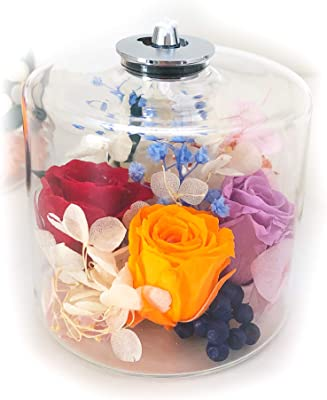 Lulu's ルルズ エレガントな薔薇のハーバリウムランプ【オイル付き】 ドライフラワー プリザーブドフラワー サイズ:直径7㎝×高さ6㎝ ハーバリウムランプ Lulu's-1273