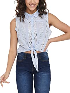Only Women's Embroidery Anglaise Shirt Blue