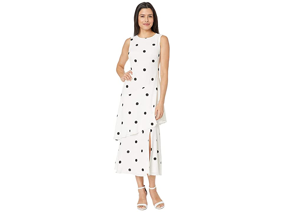 LAUREN Ralph Lauren Depaul Dot Crepe Norris Sleeveless Day Dress (Lauren White/Black) Women
