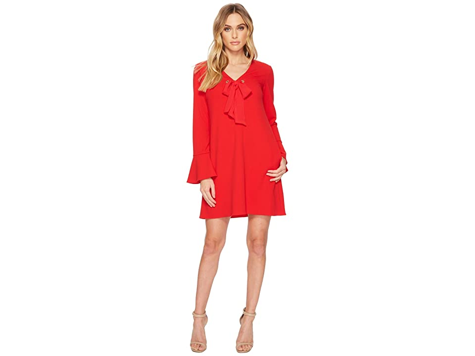 Donna Morgan V-Neck Shift Dress w/ Tie at Center Front Neck (Red/Red) Women