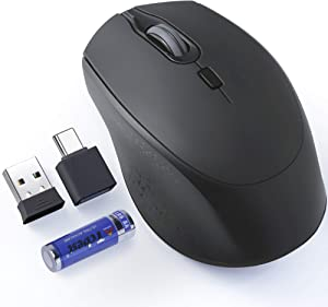 Wireless Mouse Noiseless, TopMate 2.4G Silent Optical Wireless Mice, 3 DPI Adjustable Ergonomic Cordless Mouse with USB C Adapter and 1 AA Battery, for PC/Laptop/Desktop/Computer/Windows/Mac – Black