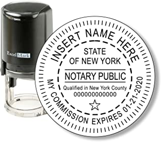 Round Notary Stamp for State of New York - Self Inking Stamp - Features The ExcelMark Double Sided Ink Pad for Longer Product Life