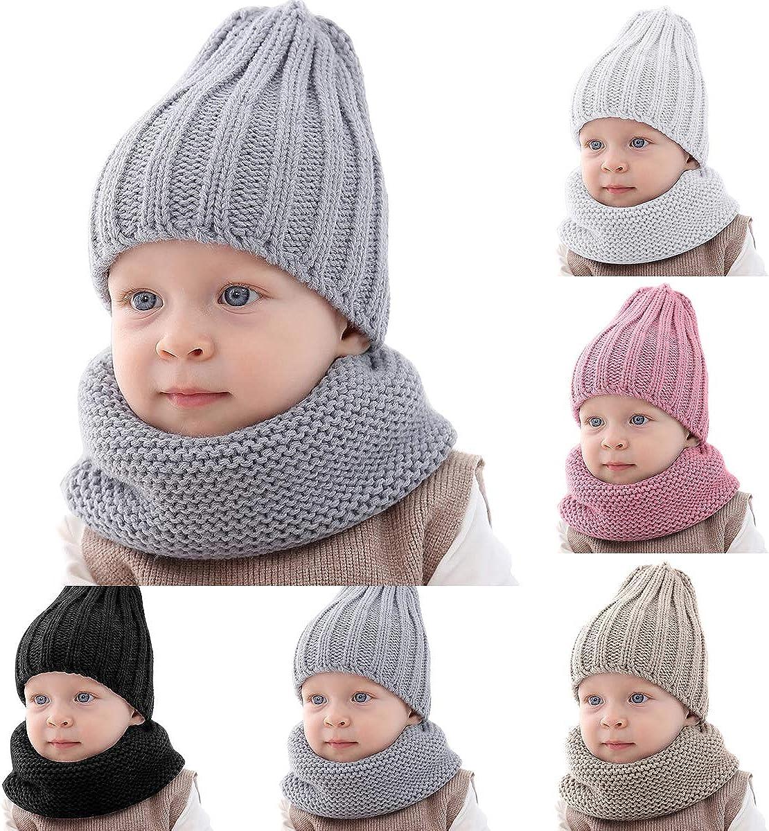Haokaini beb/é Invierno m/ás c/álido Sombrero pa/ñuelo de Punto de Color Puro Gorro Conjunto para ni/ños ni/ñas