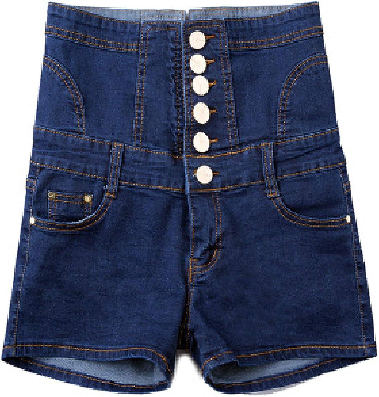 Zestion Ladies Denim Shorts Single Breasted Slim Fit High Waist Double Pocket Denim