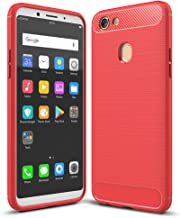 OPPO F5 Case, Ikwcase Carbon Fiber Skin Resilient TPU Shockproof Armor Protective Case Cover for OPPO F5 Red