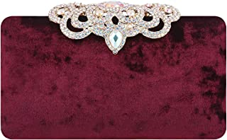 Clutch Evening Bags Luxury Crown Rhinestone Velvet Purse